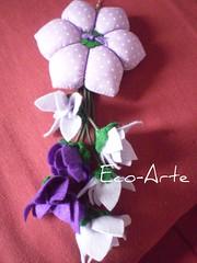chaveiro hexagono lado com poá...encomenda (eco-arte) Tags: flores flor feltro locksmith chaveiro xadrez retalho reaproveitamento floreslilás chaveirohexagono chaveirocomseispétalas floresroxo
