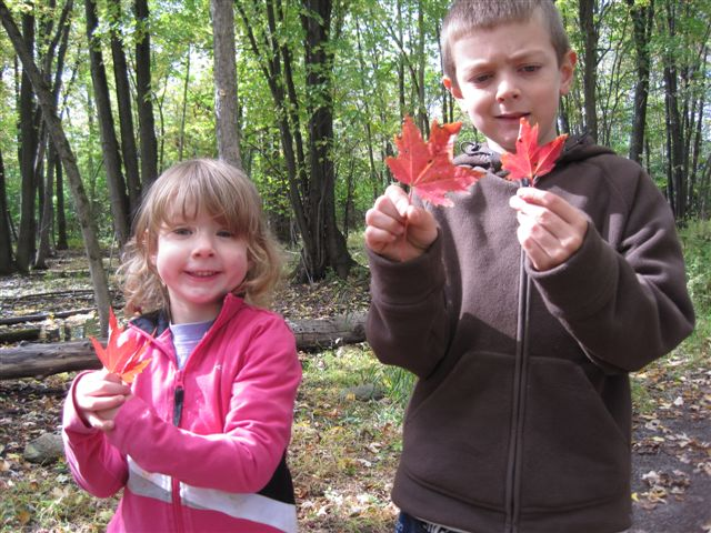 My two kids holding red Canadian maple leafs