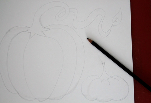 Drawing of Pumpkins (soon to be cut out)