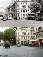 Holborn`1955-2010 (roll the dice) Tags: uk trees costa london history classic cars clock 1955 coffee architecture underground hotel fifties traffic camden tube bank holborn bloomsbury local streetfurniture waste blueplaque kingsway grade2 5star cornerhouse listed oldandnew rtl tfl refurbished wc2 wc1 pastandpresent londonist hereandnow southamptonrow thomasearnshaw sandbin kingsgatehouse jlyons cheltenhamgloucester rtlsbus