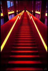 Stairway from Hell (grrrrrrrrrrrrrrrrrrrrrrrrrrreg) Tags: blue red rot yellow stairs germany essen steps gelb staircase blau zechezollverein stufen treppen treppenaufgang treppenstufen