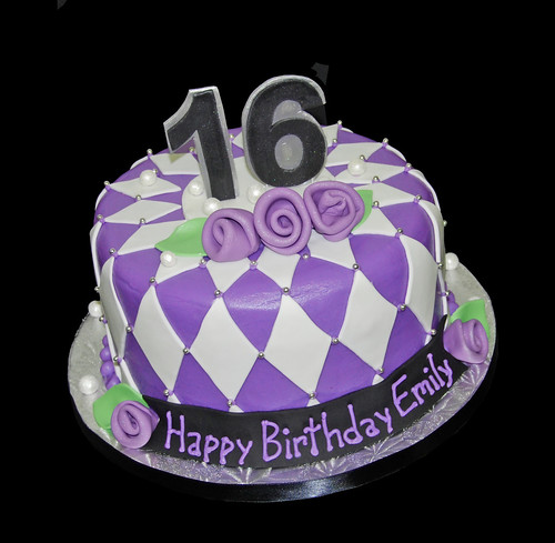 purple black and silver diamond patterned 16th birthday cake
