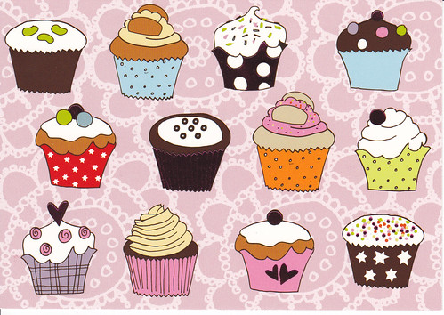 cupcakes cartoon background. Multiple Cupcakes Cartoon-y