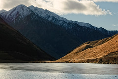 Moke Lake, Queenstown, New Zealand (goneforawander) Tags: new sunset newzealand mountain lake landscape outdoors island nikon scenery natural south d70s southern zealand alpine backpacking nz otago queenstown range moke aoteoroa wakitipu goneforawander