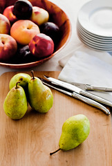 Fresh Fruit for Dessert (Gourmande in the Kitchen) Tags: food fruit dessert pears peaches plates knives plums nectarines cuttingboard laguiole foodphotography foodstyling ef100mmf28lisusmmacro freshanduncooked