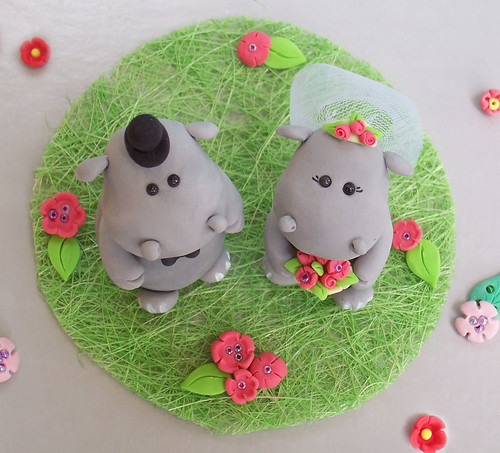 Hippos wedding cake topper - Personalized