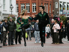 Melissa Convery and Padraic Moyles dancing on Grafton Street, Dublin 2008 (Official Riverdance) Tags: ireland dublin 2008 irishdancing riverdance melissaconvery padraicmoyles thefoylecompany leadcouple