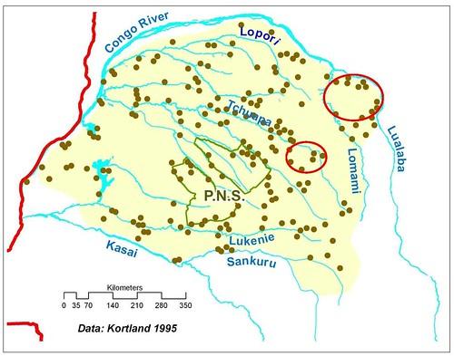 20th century bonobo distribution - small dots are reports of bonobos