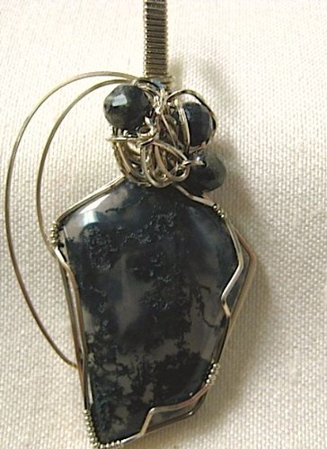 Indian Green Moss Agate - 14K White Gold Filled Wire Wrapped Pendant