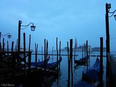 Venice gondolas and San Giorgio Maggiore from Piazza San Marco
