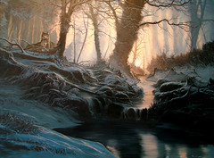 Ancient Woodland (alan.kingwell) Tags: dawn wolves ancientwoodland snowpainting ancientforest woodlandstream wolfpainting winterlandscapepainting alankingwell