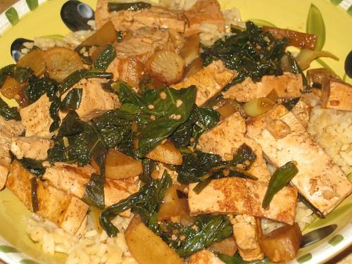 Stir fry with daikon radish and greens
