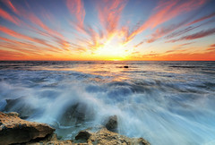 Beach Burns Sunset, Perth (Nora Carol) Tags: sunset rock clouds waves indianocean perth limestone westernaustralia noracarol sunsetonawindyday beachburns amazingsunsetinperth
