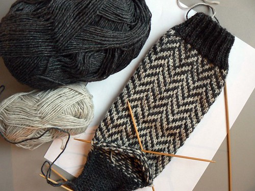 herringbone socks WIP