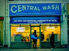 Queensway's Central Wash (Tobymutz) Tags: london sign shop neon dusk laundromat launderette queensway bayswater laundrette washeteria