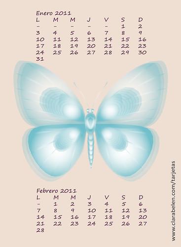 calendario almanaque enero febrero 2011 anual mariposa