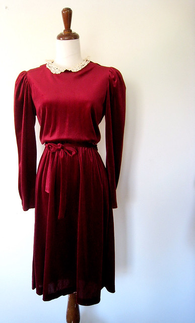 Blood Red Velvet Puff Sleeve Dress, Vintage 70's
