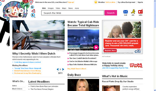 My work on the AOL Homepage