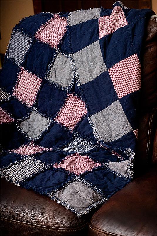 rag quilt finished for blog
