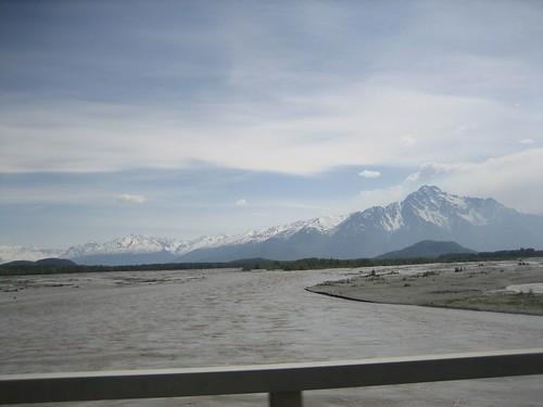 crossing the Matanuska River near Palmer