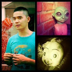 the alien has landed (.emong) Tags: portrait sculpture art artist philippines filipino ateneo quezoncity iphone diptic iphoneography hipstamatic