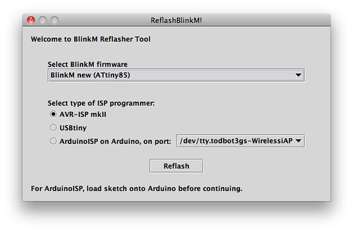 ReflashBlinkM: Updating BlinkM firmware