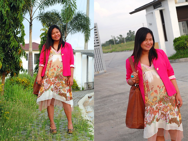 hot pink blazer + floral dress