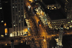 The Magnificent Mile Lights Festival (doug.siefken) Tags: road city trees people urban usa chicago tower art water festival night geotagged fire lights illinois downtown cross michigan doug crowd engine parade uptown peninsula magnificent mag mile streeterville urbanscapes the magmile siefken dougsiefken