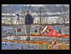 A Man and His Canon (Calvin J.) Tags: auto ontario club yard photography junk nikon flickr nikkor mississauga salvage wreckage hdr wrecking rockwood scarp 2470mmf28 mcleans d700
