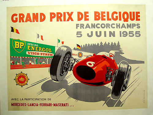 019-Gran Premio de Belgica 1955-© 2010 Vintage Auto Posters. All Rights Reserved