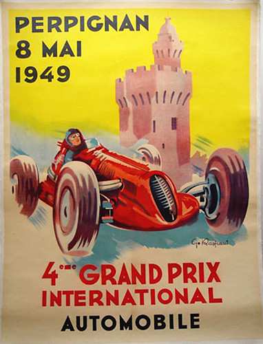 014-Perpignan Grand Prix, 1949-© 2010 Vintage Auto Posters. All Rights Reserved