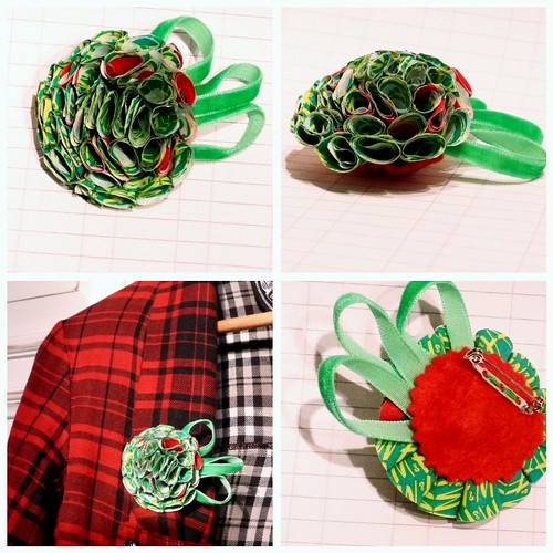 Recycled carrier-bag brooch - Elfin Cheer [large]