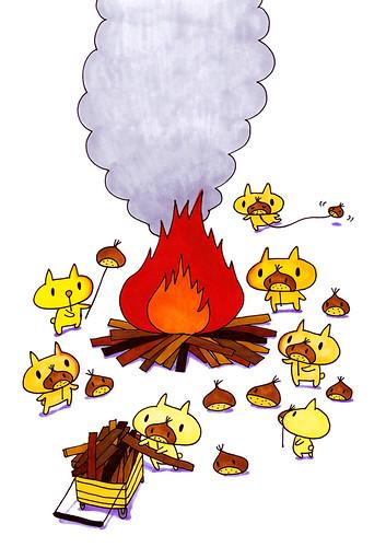 群衆絵_栗鼻のたき火