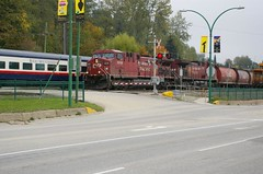 Working train passes leisure train (davidneal) Tags: cprail