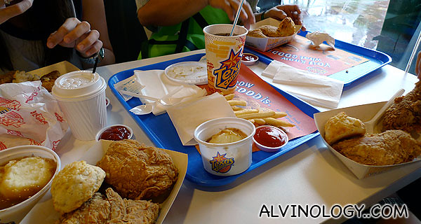 Our order during my first visit to Texas Chicken at Expo with my family