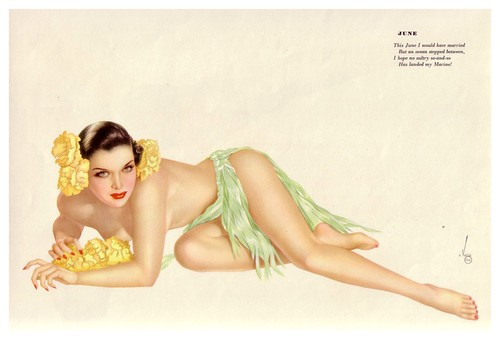 012-Vargas- June 1943-Esquire calendar- via Brenda's Babes A Pin-Up Collection