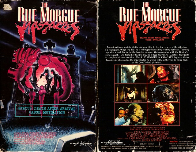The Rue Morgue Massacres (VHS Box Art)