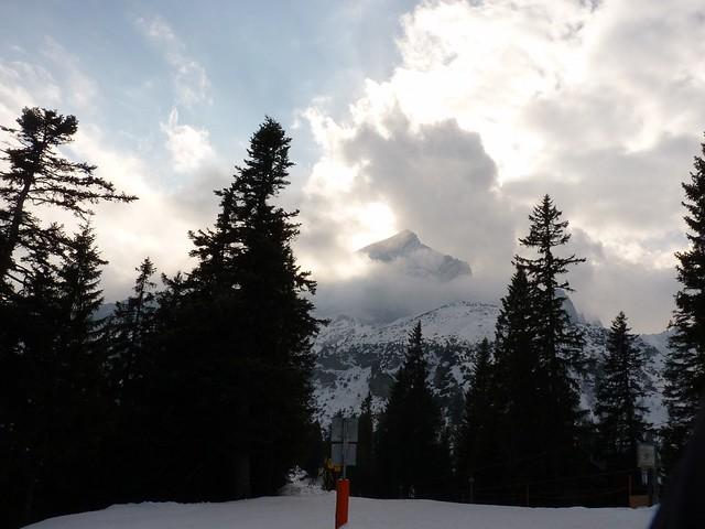 Alpspitze in der Sonne - Ski-WM, Tag 7, oben zum Skifahren