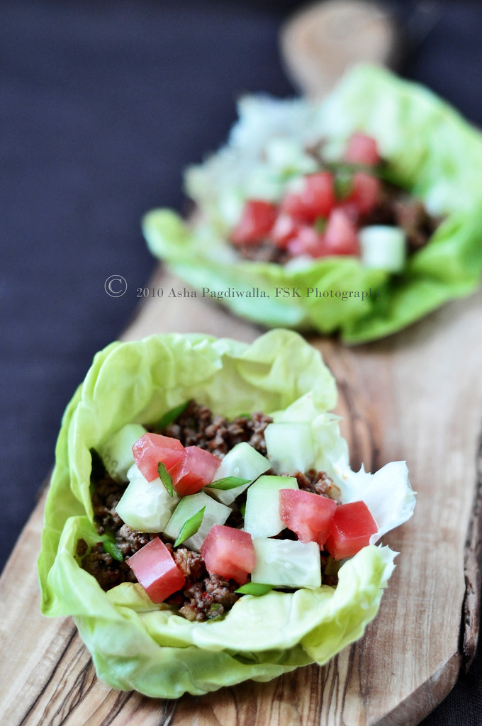 REd Curry Beef lettuce wraps