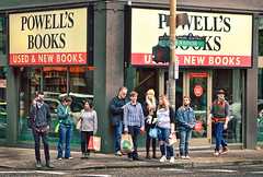 Powell's Is Number One! (Ian Sane) Tags: ian sane images powellsisnumberone powells books store man crowd people gesture hand finger candid street photography downtown portland oregon canon eos 5d mark ii two camera ef70200mm f28l is usm lens