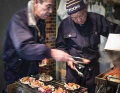 street food masters (Roger Foo) Tags: japan tokyo winter tsukijimarket scallops seaurchin bbq steamedcrablegs