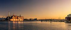 Baltimore (Steven-ch) Tags: usa sunset fellspoint us panorama town eos5dmarkiv goldenhour urban industrialbuilding baltimore travel america tidepoint federalhillmontgomery canon pier unitedstates maryland harbour patapscoriver