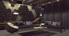"""Darkened by the nightmare of losing light..."" - Interior Setup - Sci-Fi modern industrial (Jack Hanby - Grandeur decor) Tags: modern love passion building decorating scifi you me future space geometric geo aria loft wooden rustic honeycomb"