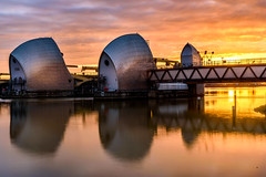 Thames Barrier (Gary Hoyles UK) Tags: sun morning light thames london barrier orange red pink water birds engineering flood tide sea reflection early colourartaward