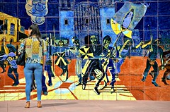 Mural Camouflage (Pedestrian Photographer) Tags: dsc6209 dsc6209b woman art mural jeans matching camouflage shirt top colorful olvera street father hidalgo rang bell dolores eduardo carrillo ribbet