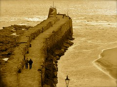 Out for a Stroll (Edinburgh Photography) Tags: landscape outdoors st andrews sepia walking people documentary nikon d7000