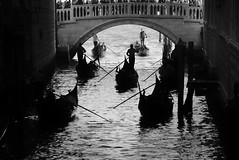 Accidental Renaissance (v923z) Tags: italy sanmarco venice blackandwhite bridge bridgeofsighs canal dark diagonal evening gondola gondolier highcontrast lines outdoor rudder shadow silhouette water