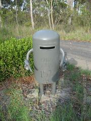 Ned Kelly mail box 2, view 2a (Su_G) Tags: nedkelly mailbox postbox mail sug 2017 publicart australia australiana bushranger bush bushlandscape landscapewithnedkelly neardharugnationalpark nsw letterbox suchislive text pistols stickemup standanddeliver