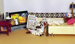 It's The Little Things on the Death Star (ChicaD58) Tags: dscf9381c starwarsactionfigure actionfigure stormtrooper clonetrooper lego stb palpatinesnephew teddybear zoraktheteddybear tv plant newspaper bed pillow endtable lamp mug tissue breakfast sausagelink coffee donuts milk coffeemaker commemorativedarthbottleofscotch books mice stormtrooperbruce imaginaryfriends
