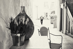 Furnished Patio With Figure (macplatti) Tags: xt10 xf1855mmf284rlmois furnish furniture patio urban monochrome blackandwhite schwarzweiss home interior exterior feldkirch vorarlberg austria aut